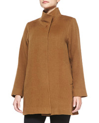 Fleurette Stand Collar Camel Hair Coat