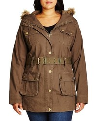 City Chic Plus Size Faux Fur Trim Hooded Belted Utility Jacket