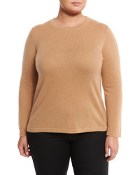 Neiman Marcus Cashmere Crewneck Sweater Brown Sugar Plus Size