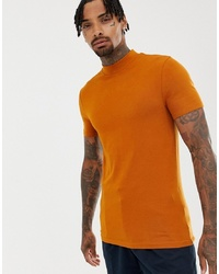 ASOS DESIGN Muscle Fit T Shirt With Turtle Neck In Brown