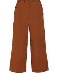Tibi Sailor Nerd Cropped Stretch Crepe Wide Leg Pants Brown