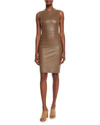The Row Cobi Sleeveless Plonge Dress Khaki