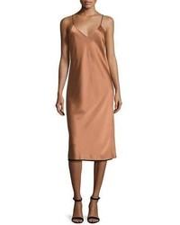 DKNY Sleeveless Reversible Satin Slip Dress Copperblack