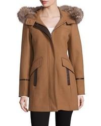Trina Turk Riley Fox Fur Trim Duffel Coat