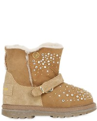 Miss Blumarine Embellished Suede Shearling Boots