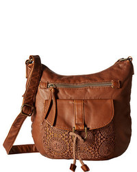 Tobacco Embroidered Leather Crossbody Bag