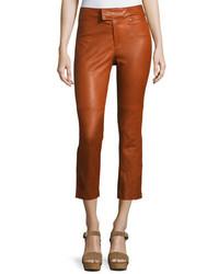 Isabel Marant Covida Cropped Kick Flare Leather Pants Brown