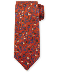 Kiton Antique Floral Print Silk Tie Rust Brown