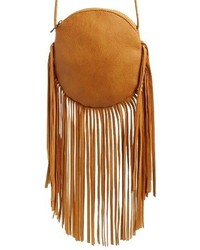 Street Level Fringe Faux Leather Round Crossbody Bag Brown