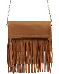 TEN79LA Fringe Leather Foldover Crossbody Bag