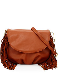 Deux Lux Fringe Trim Faux Leather Crossbody Bag Luggage