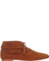 Tobacco Fringe Suede Ankle Boots