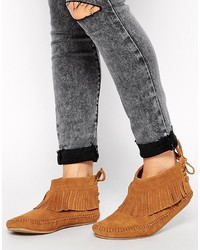 Asos Amongst Us Fringe Suede Booties