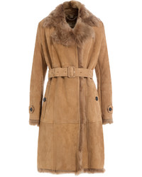 Burberry Suede Coat With Fur Collar