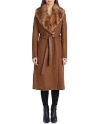 Badgley Mischka Wrap Coat With Genuine Lamb Fur Collar