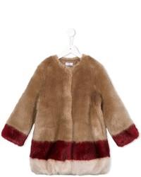 MonnaLisa Striped Faux Fur Coat