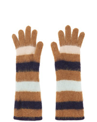 Lanvin Brown Striped Gloves