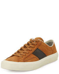 Tom Ford Cambridge Suede Striped Low Top Sneaker