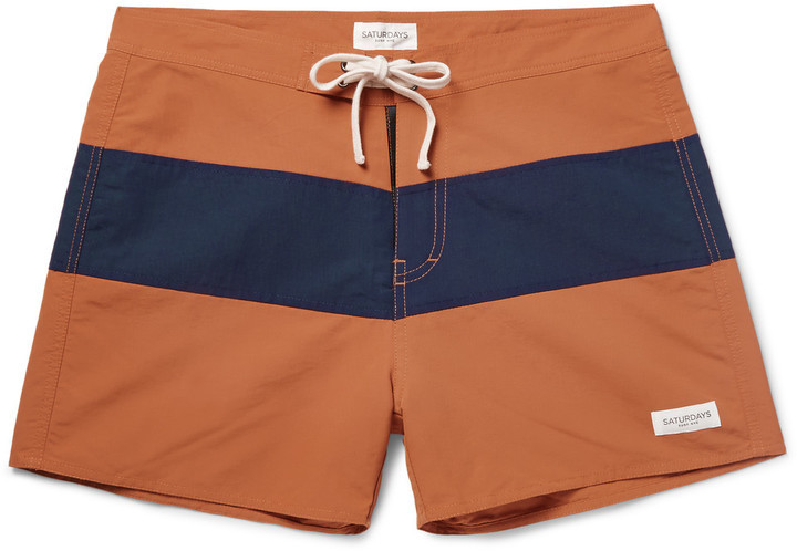 75c73a9d19f4c Saturdays Nyc Grant Mid Length Striped Shell Swim Shorts, $75 | MR ...
