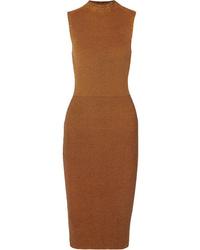 Victoria Beckham Cotton Blend Waffle Knit Midi Dress