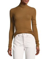 Vince Skinny Rib Knit Cashmere Turtleneck Sweater