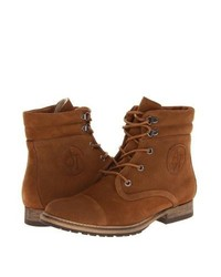 Tobacco lace up flat boots original 11410253