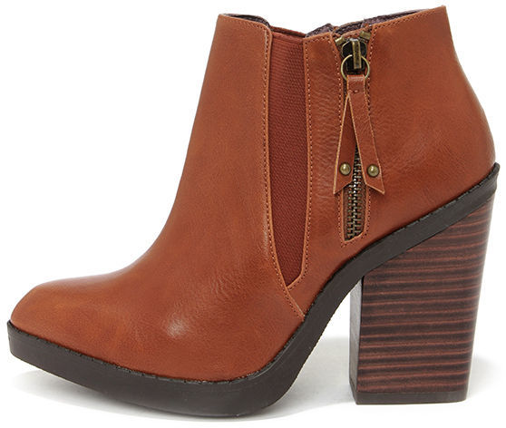 famous designer brand fashion style brand quality $81, Chelsea Crew Krystle Cognac Pointed Toe Ankle Boots