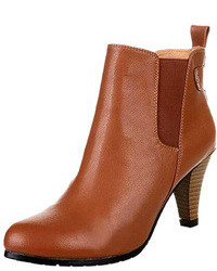 Choies Brown Leather Heeled Ankle Shoes