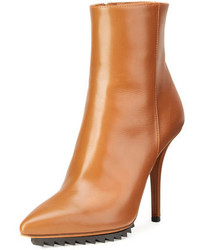 Givenchy Strettoia Leather Pointed Toe Ankle Boot Caramel