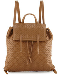 Bottega Veneta Medium Intrecciato Leather Backpack Camel b046bab36ff3c