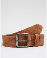 Asos Brand Leather Belt With Vintage Finish