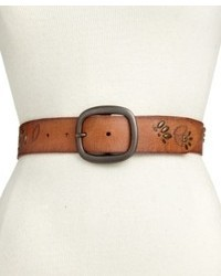 Fossil Belt Floral Studded Vine Leather Belt