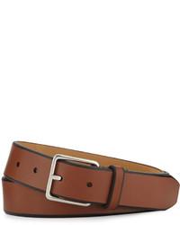 Cole Haan Leather Belt Wcontrast Trim Cognac