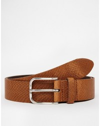 Asos Leather Snakeskin Belt In Brown
