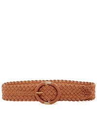 Steve Madden Leather Wide Braided Semi Wrap Belt