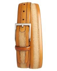 Magnanni Tela Calfskin Leather Linen Belt