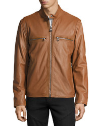 Andrew Marc Marc New York By Bedford Leather Moto Jacket Cognac