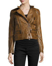 Belstaff Sidney Leather Moto Jacket Cognac
