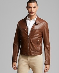 Kent & Curwen Leather Bomber Jacket