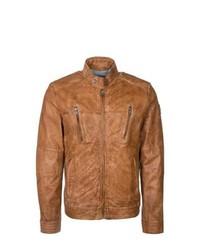 Milestone Rigo Leather Jacket Brown