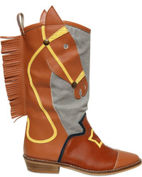 Stella McCartney Faux Leather Canvas Cowboy Boots