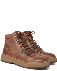 Brunello Cucinelli Nubuck Trimmed Distressed Leather Boots