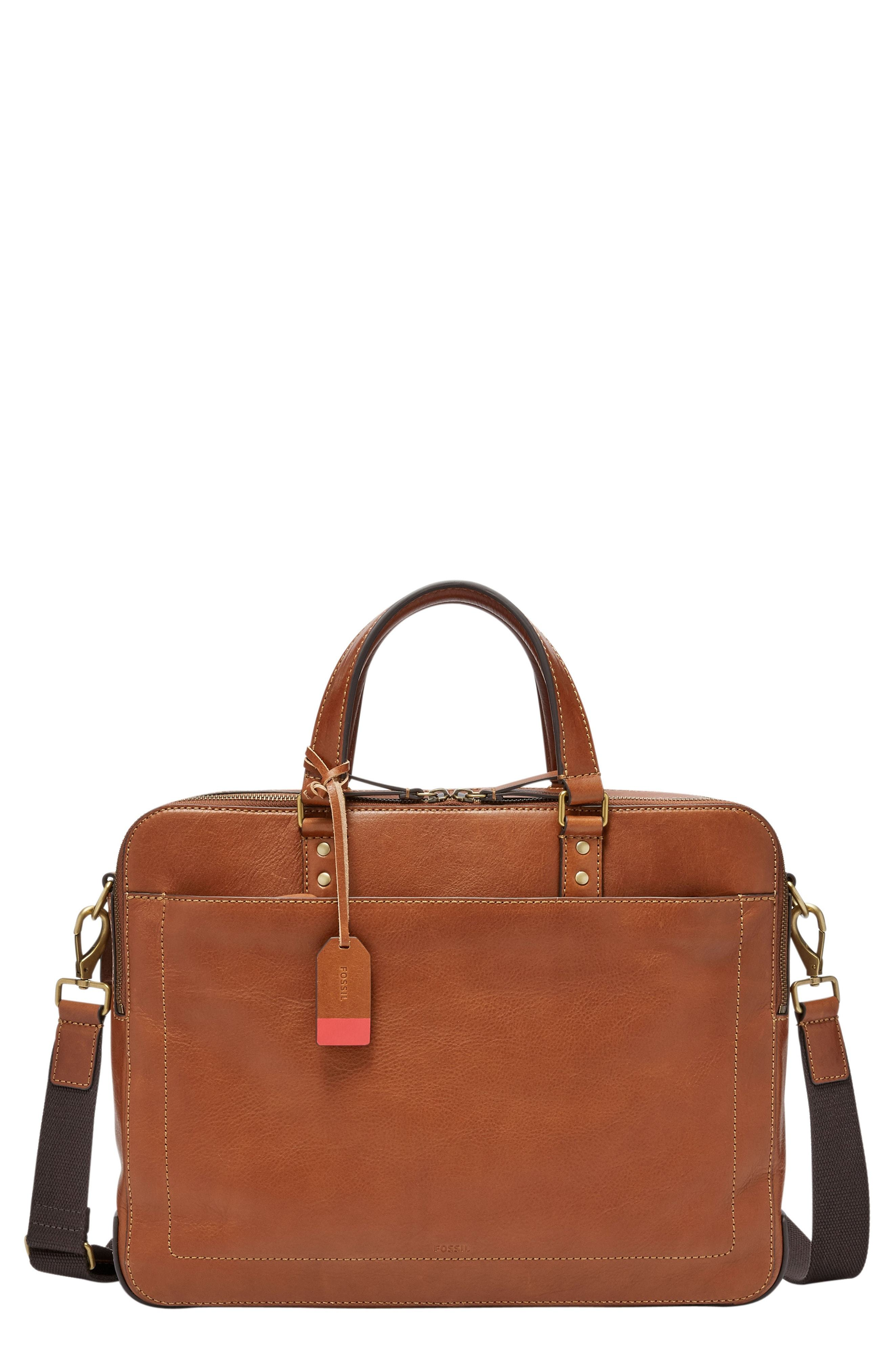 4bc4324b2a65 Fossil Defender Leather Briefcase