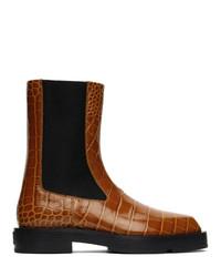 Givenchy Orange Croc Chelsea Boots