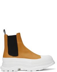 Alexander McQueen Orange Tread Slick Chelsea Boots