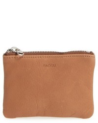 Baggu Leather Zip Pouch Red
