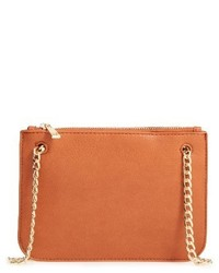 Faux Leather Crossbody Clutch Brown
