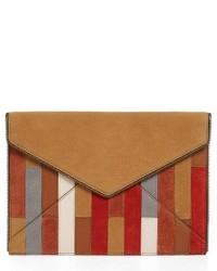 Rebecca Minkoff Leo Leather Envelope Clutch Brown