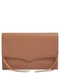 Rebecca Minkoff Panama Leather Envelope Clutch Brown