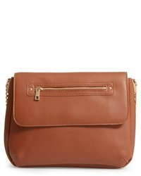 Faux leather flap crossbody bag brown medium 4984581